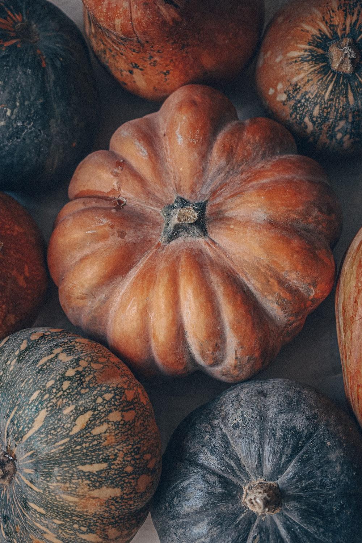 orange and black pumpkin on gray stone