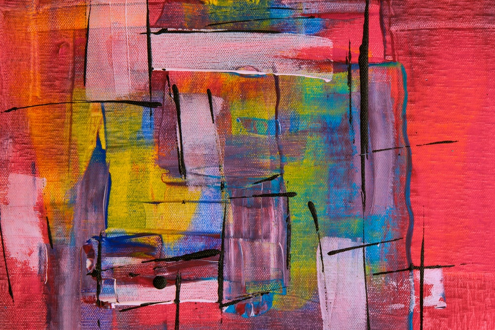 blue yellow and red abstract painting