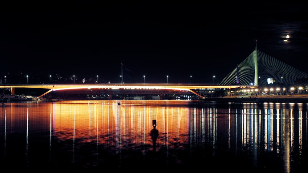 silhouette of person standing on bridge during night time