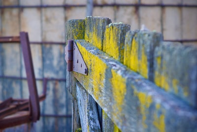yellow and black wooden fence