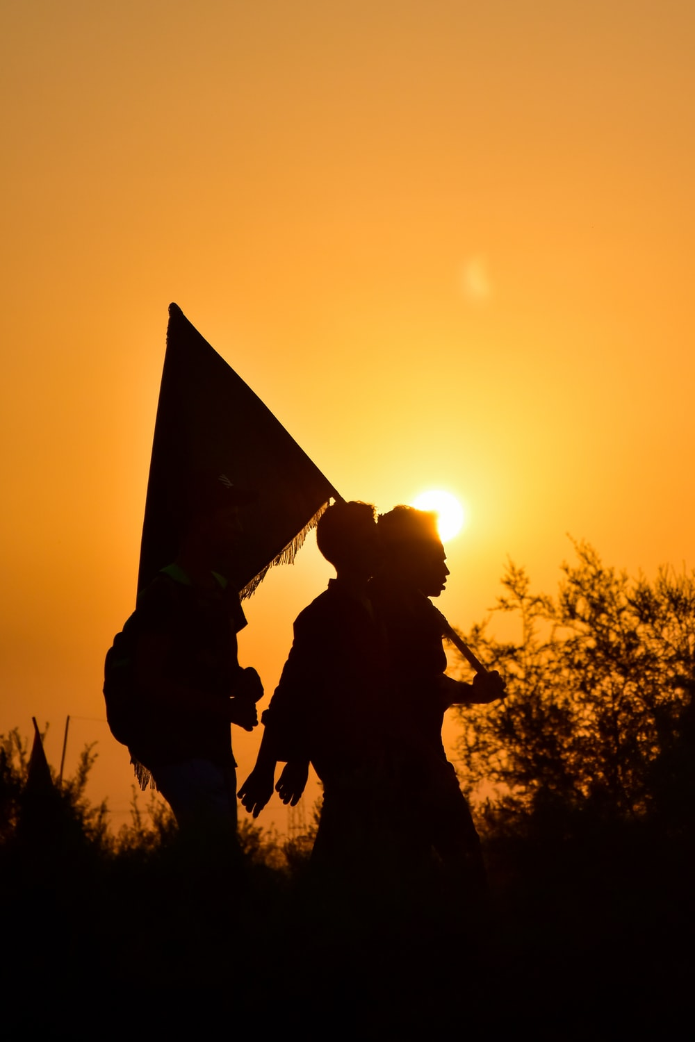 silhouette of man holding flag during sunset