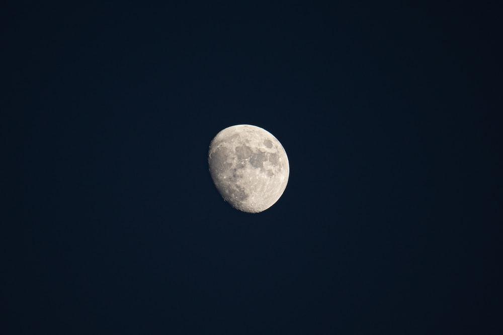 full moon in dark night sky