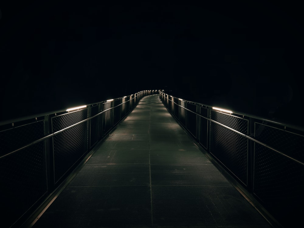 brown wooden bridge with light during night time