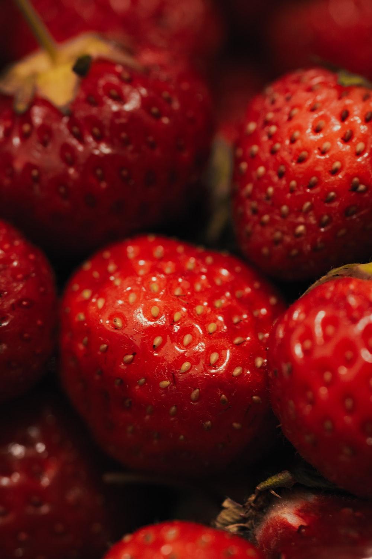 red strawberries in macro lens