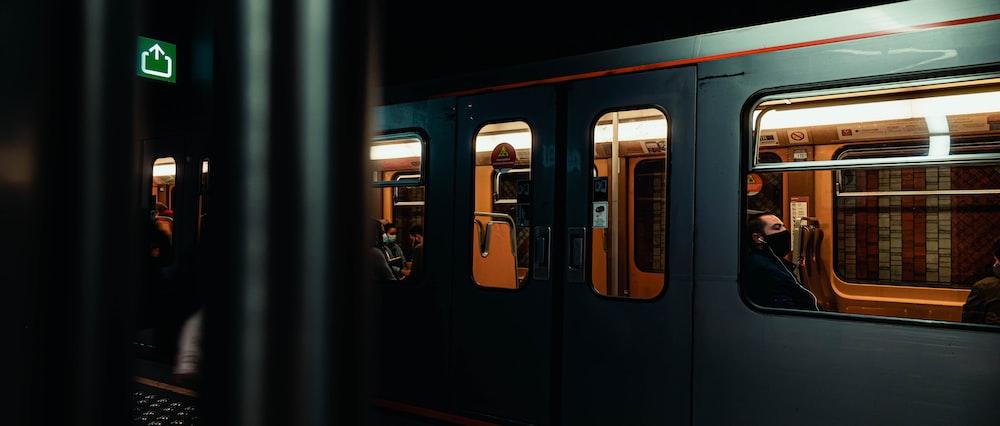 black and white train door