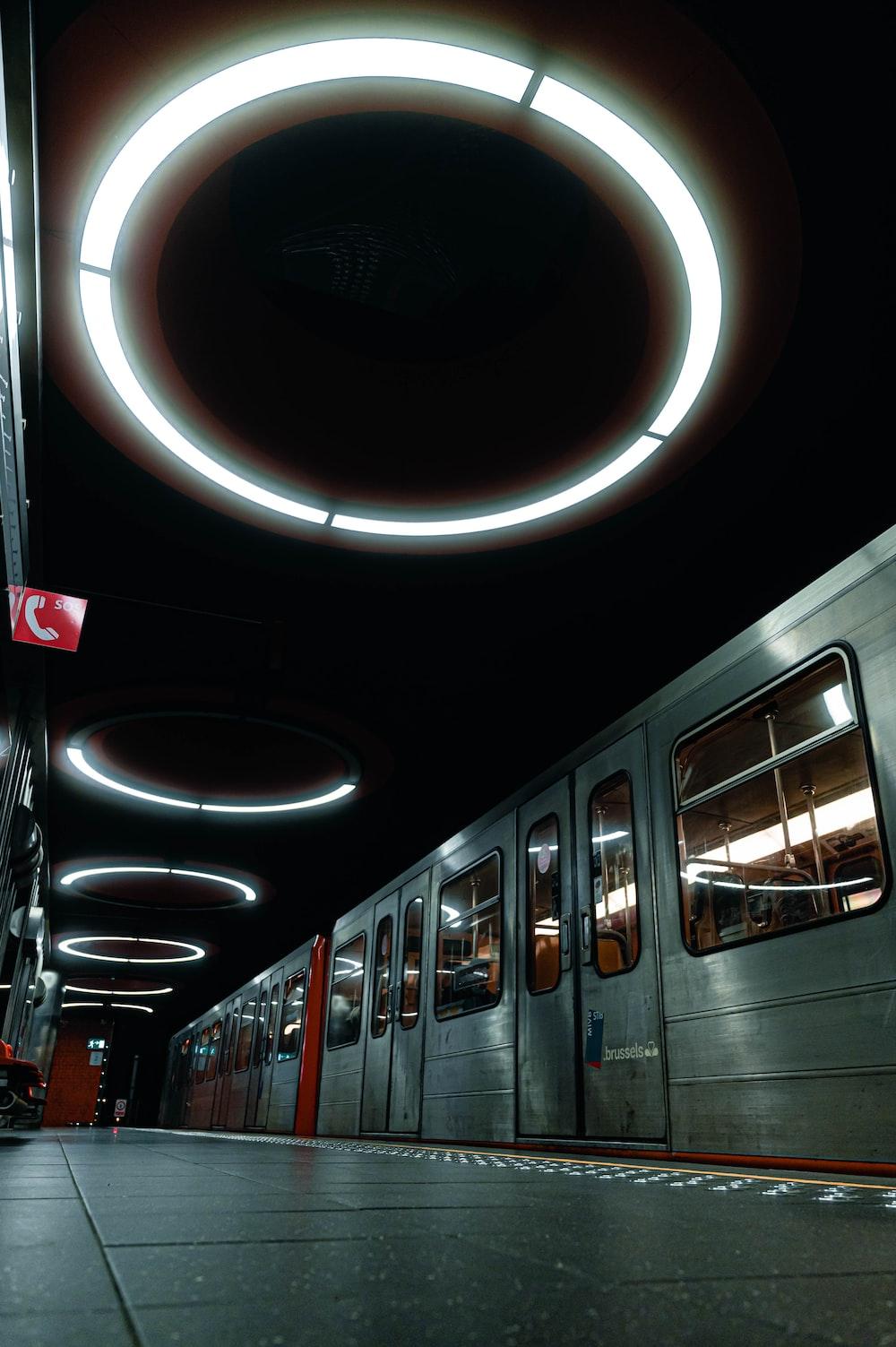 white train in a train station