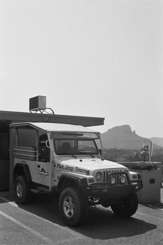 grayscale photo of jeep wrangler