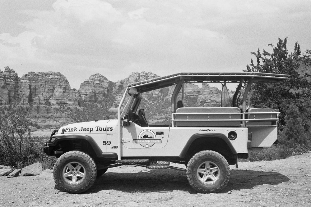 grayscale photo of jeep wrangler