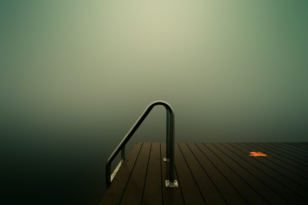 stainless steel railings on wooden dock