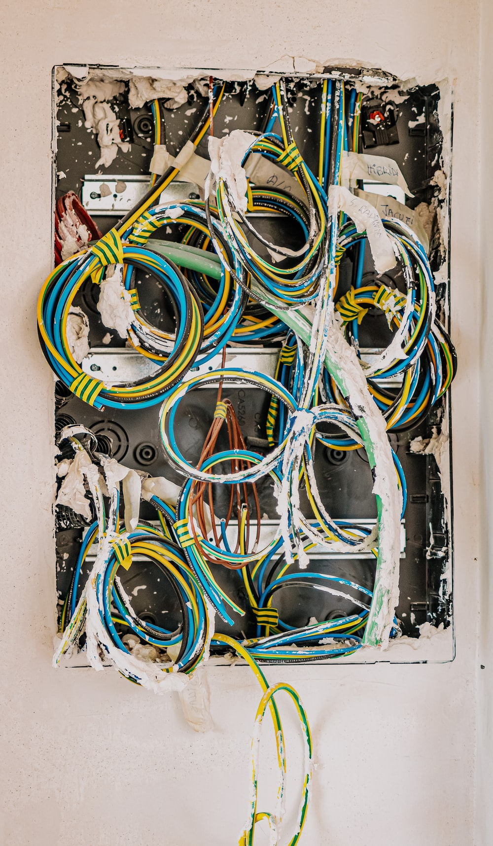 yellow blue and black coated wires