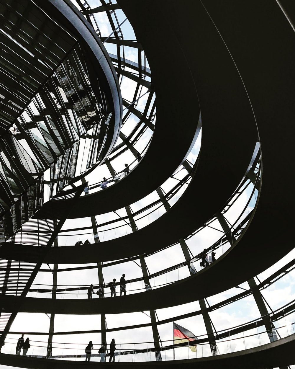black metal spiral staircase in building