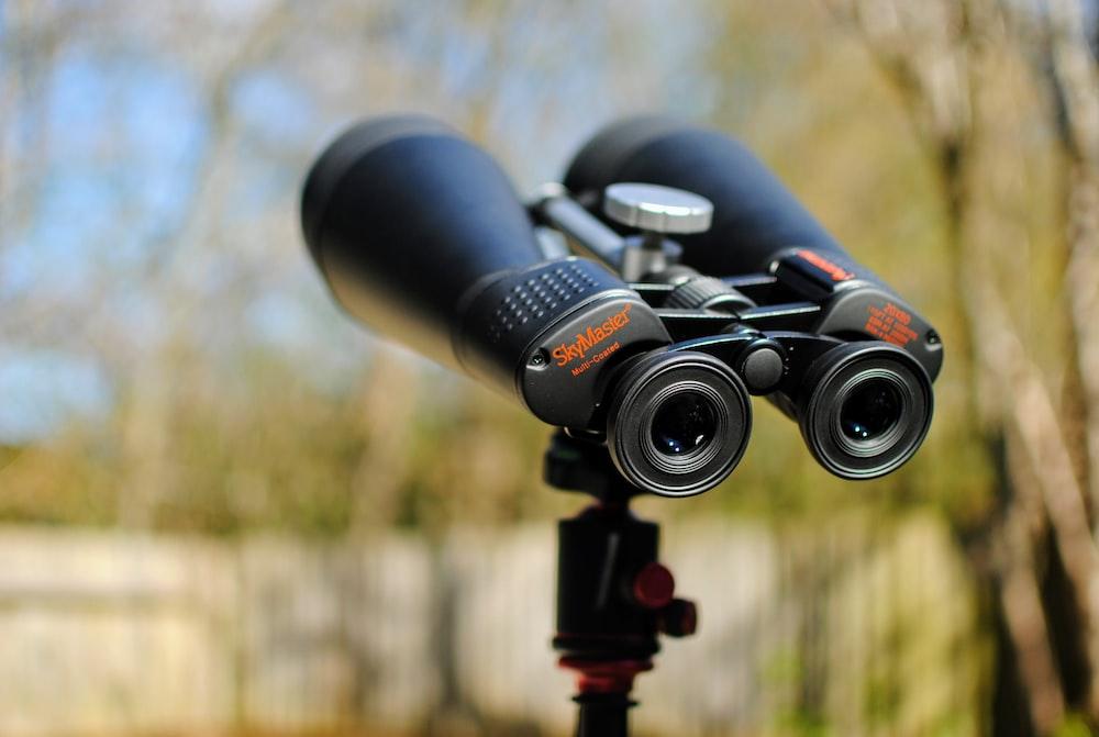 black binoculars in tilt shift lens