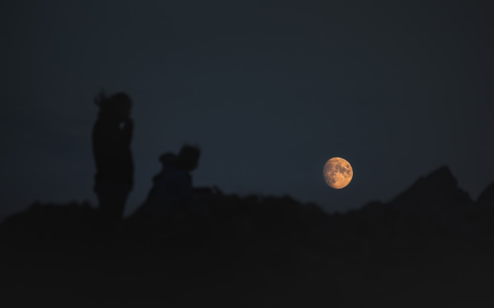 silhouette of people standing under full moon