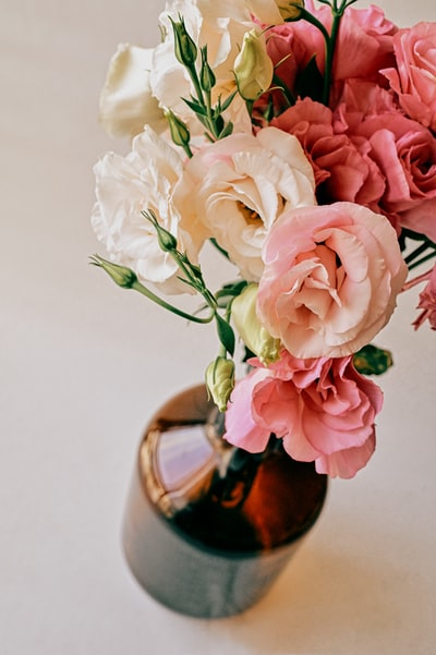 pink and white roses in brown vase