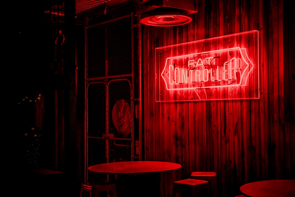 red and white love me neon light signage