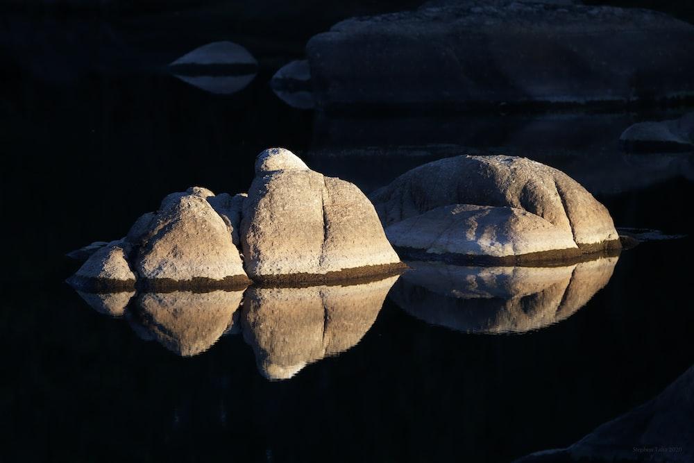 3 brown stones on water