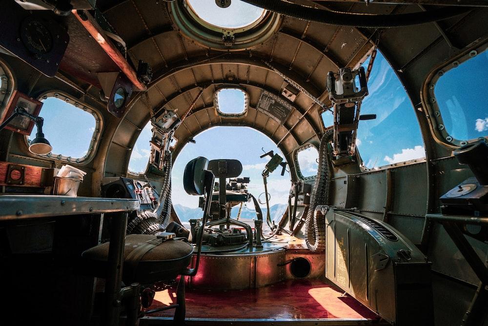 brown and black ship steering wheel