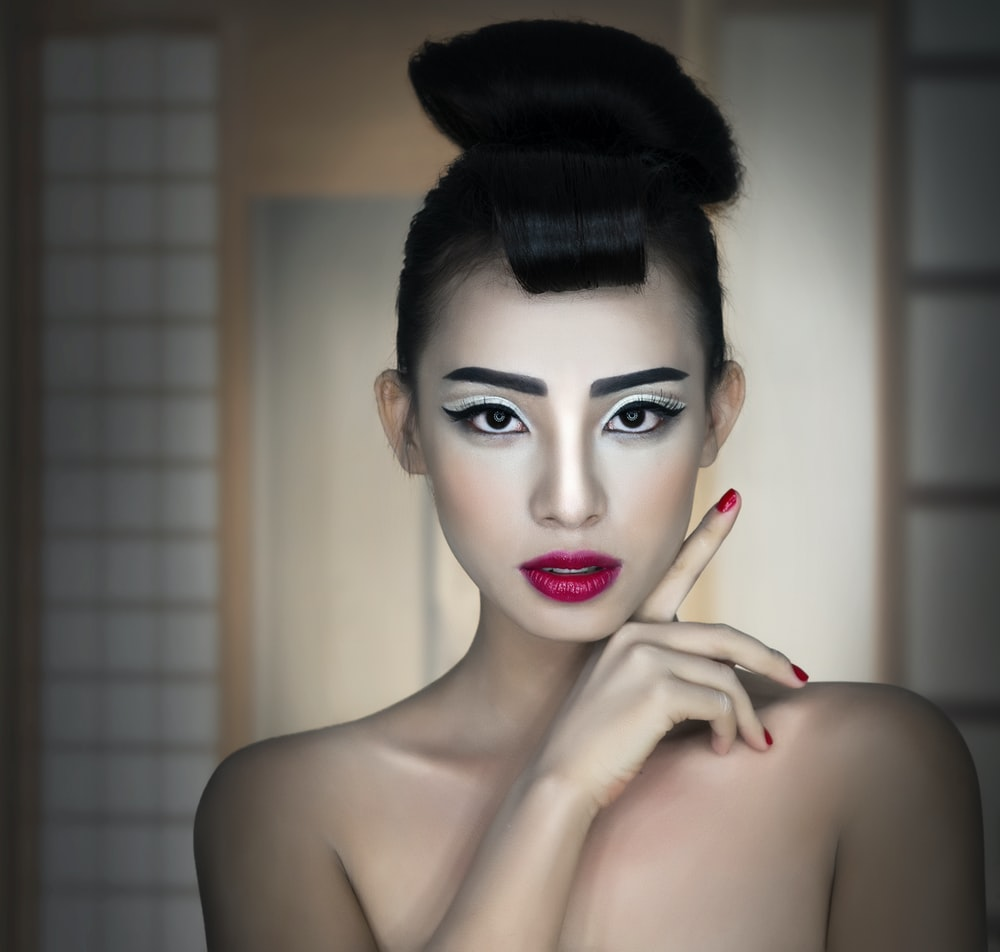 topless woman with red lipstick