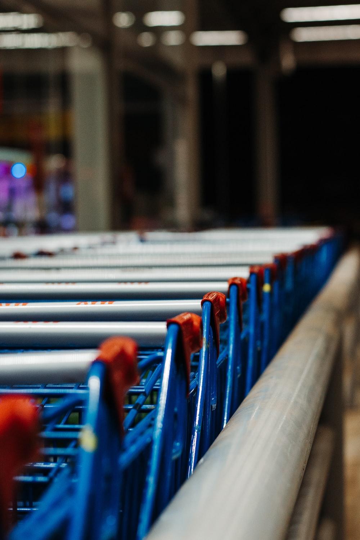 blue and gray shopping carts