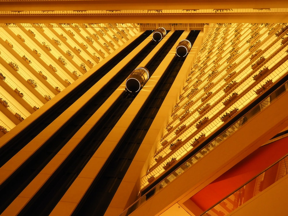 yellow and white lighted ceiling