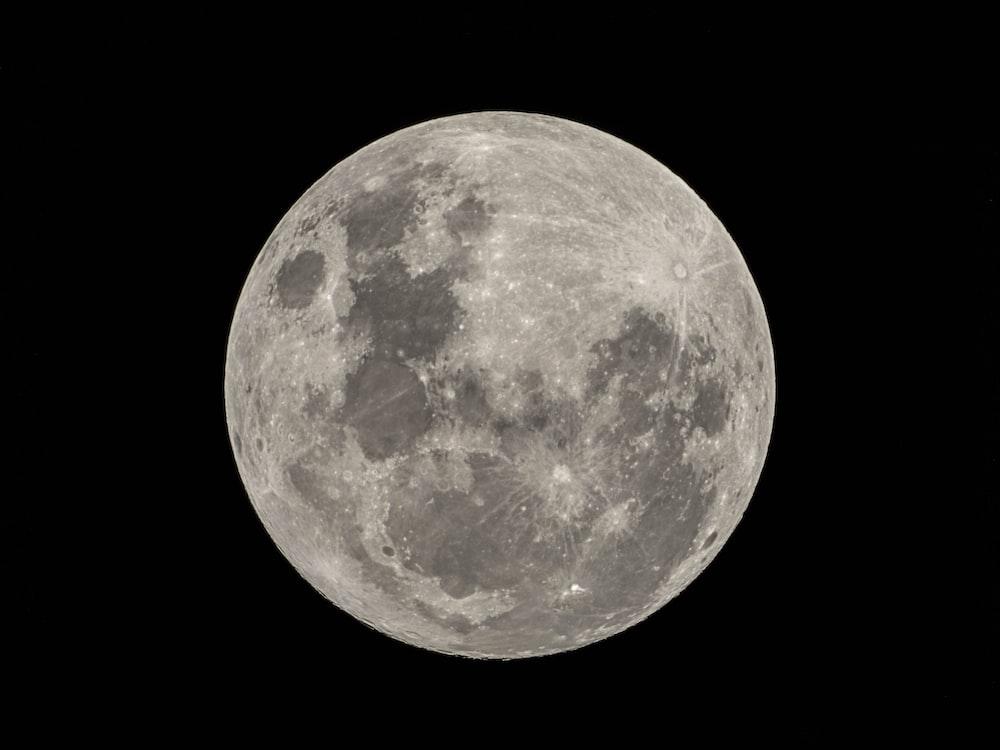 full moon in black background