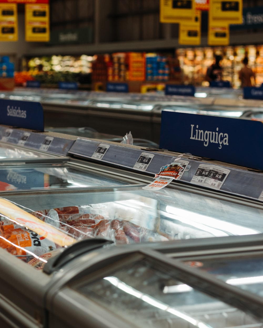 clear glass display counter with assorted foods