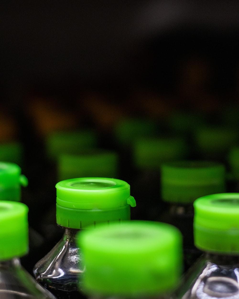 green plastic bottle cap lot