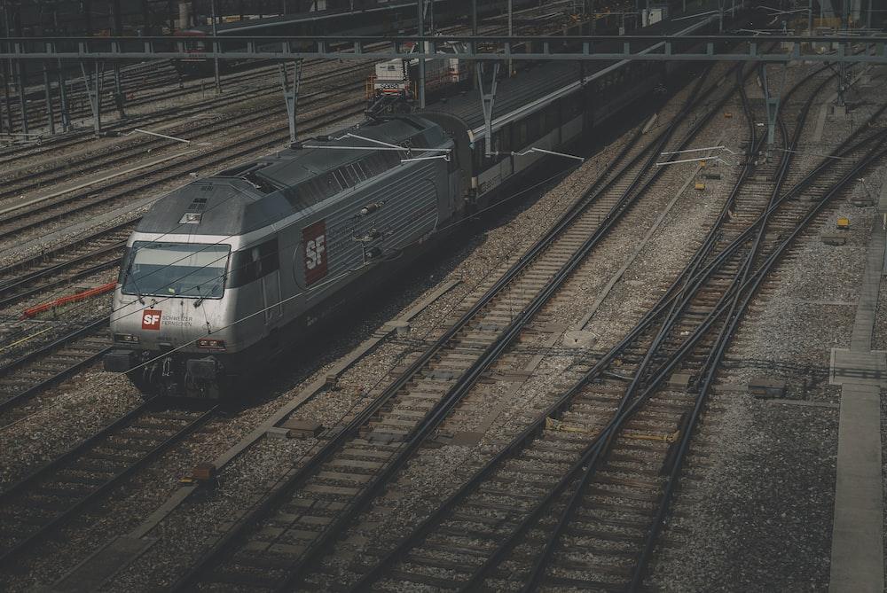 green and white train on rail tracks