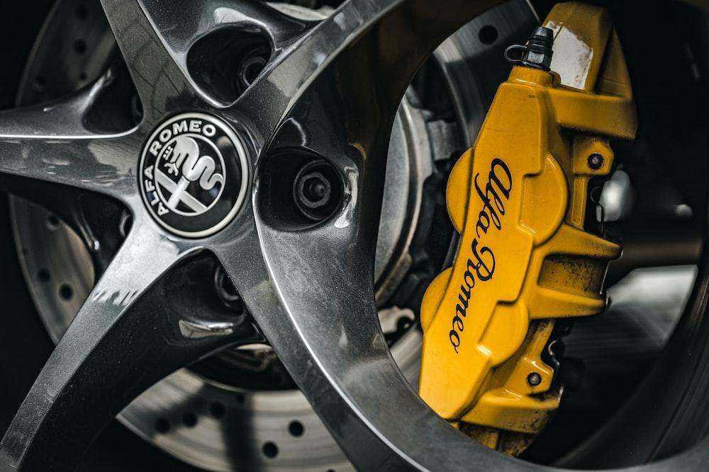 yellow and black car wheel