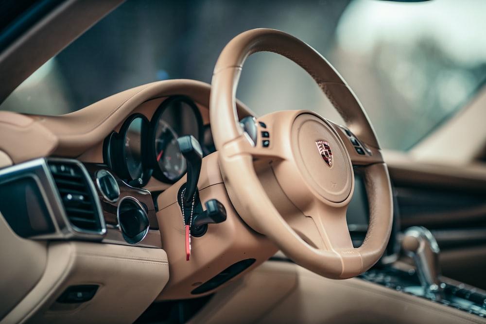 brown and black steering wheel