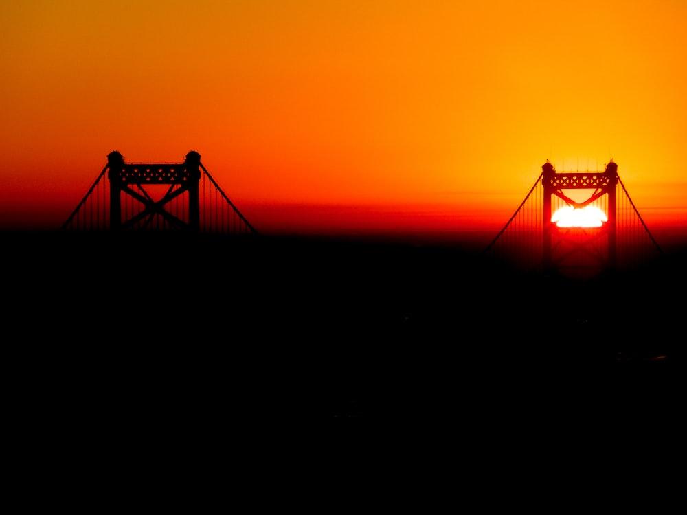 golden hour over bridge during sunset