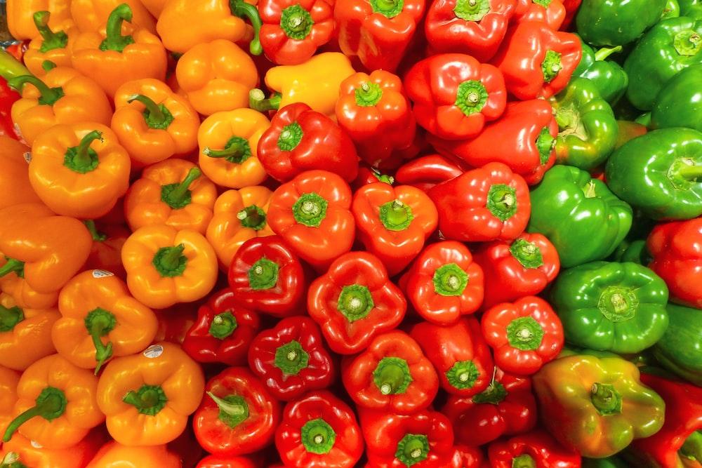 orange bell peppers on white ceramic plate