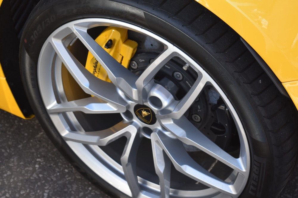 black and yellow 5 spoke wheel