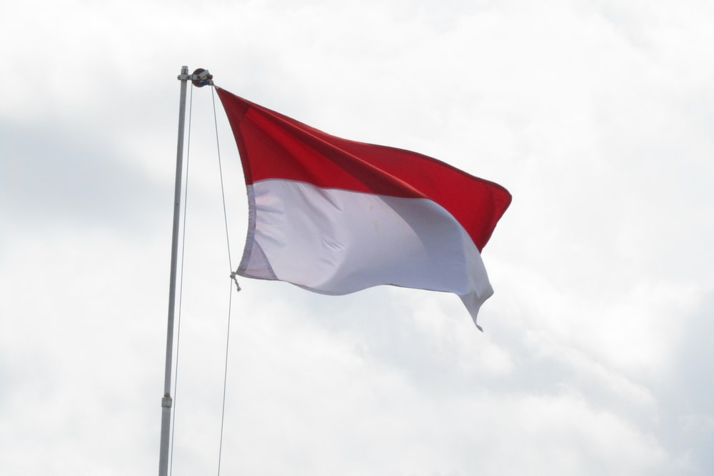 red and white flag under white clouds