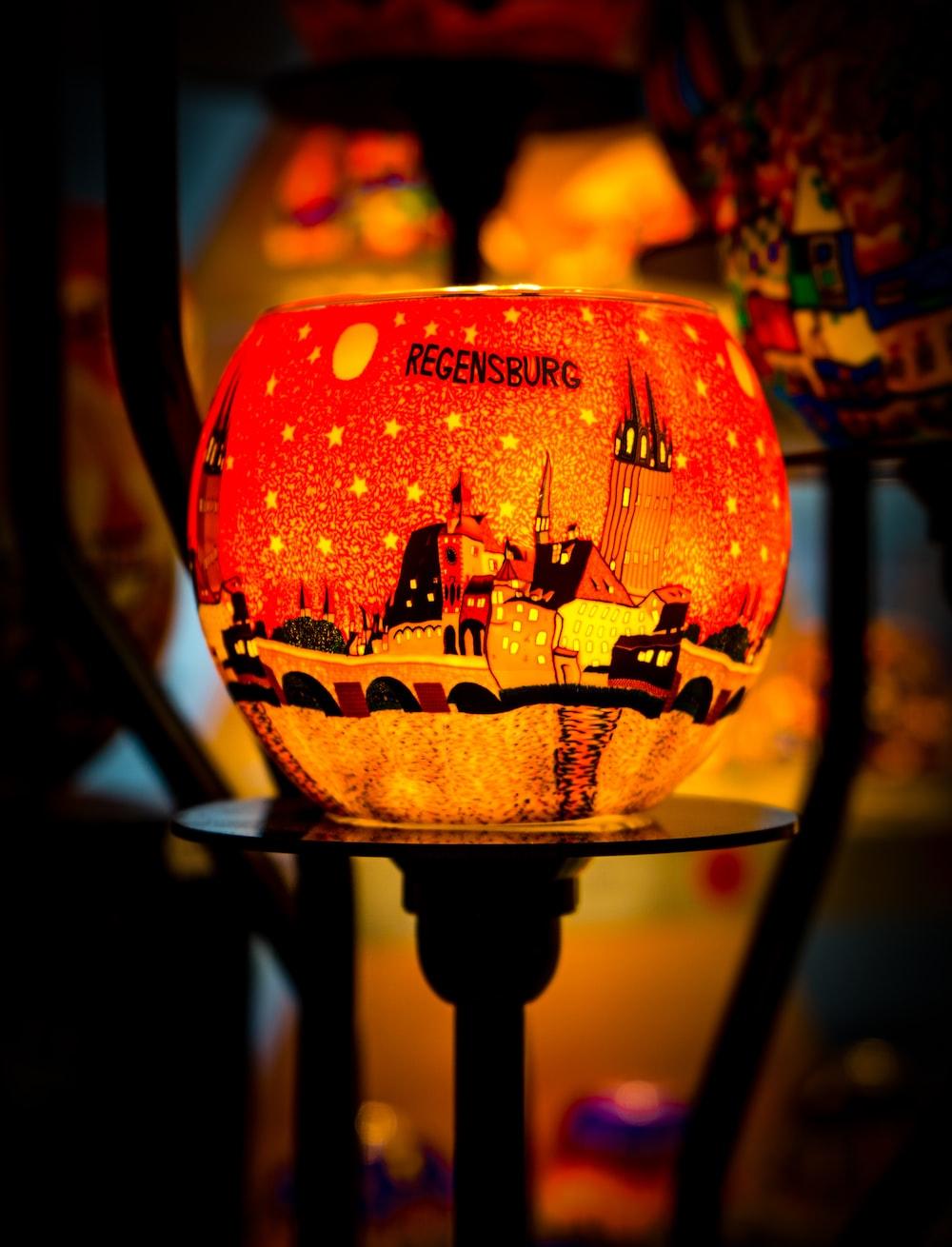 orange and black jack o lantern lamp