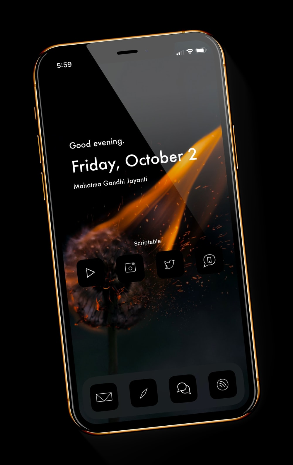 black smartphone displaying 11 00