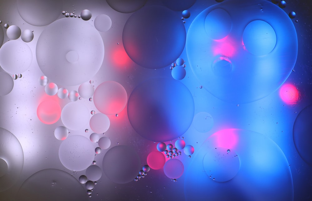 pink and blue bubbles illustration