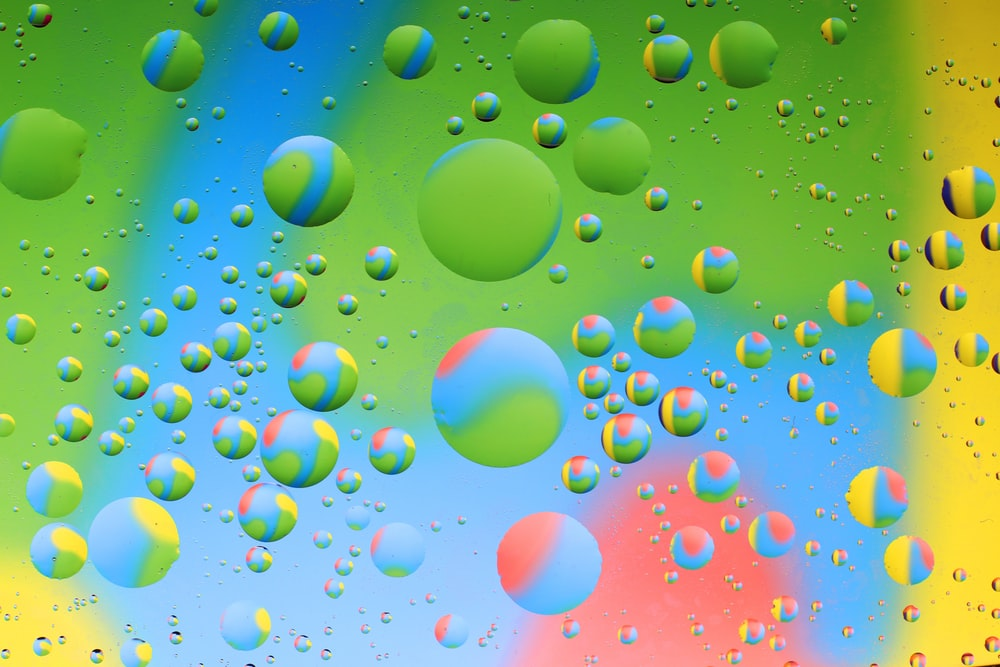 green blue and yellow balloons