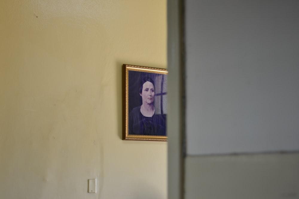 woman in purple dress framed photo