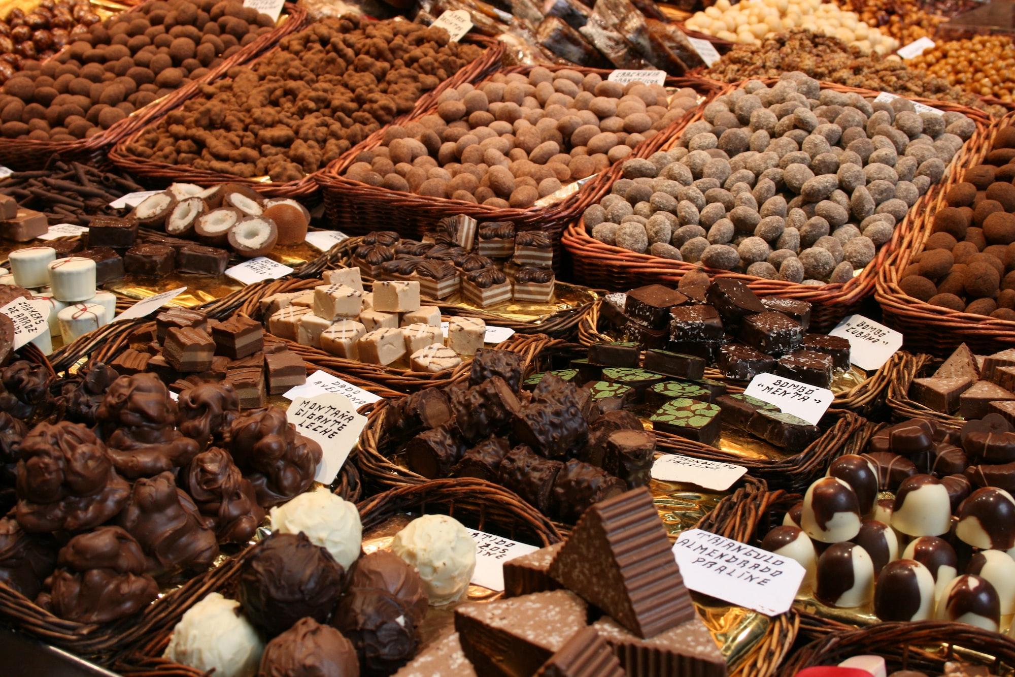 Pralines on a market in barcelona