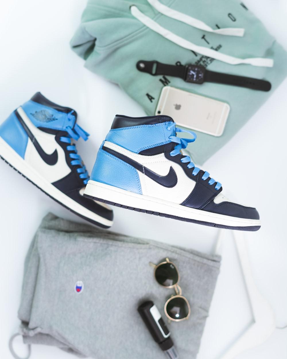 blue and white nike air jordan 1 shoes