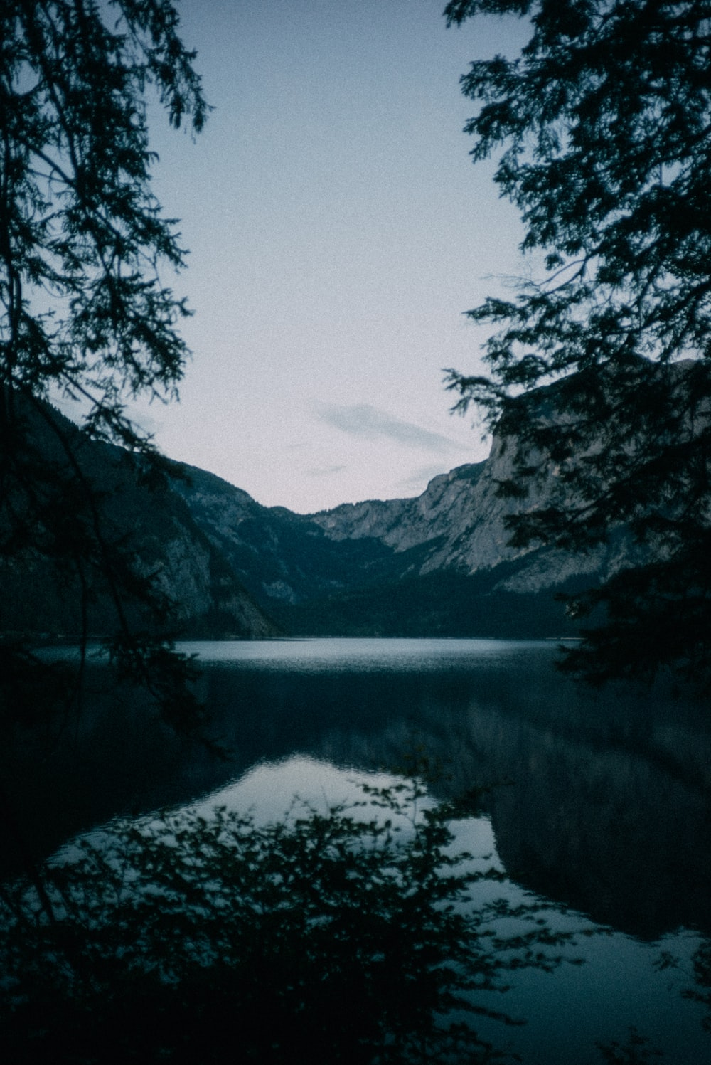 lake surrounded by trees and mountains