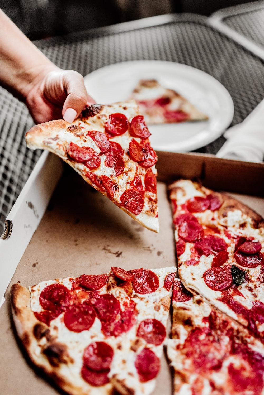 sliced pizza on white ceramic plate