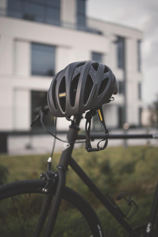black bicycle with black bicycle wheel
