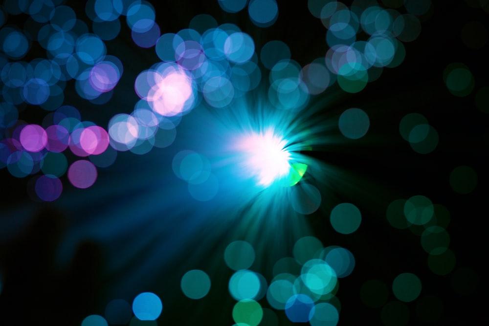 green and blue light bokeh