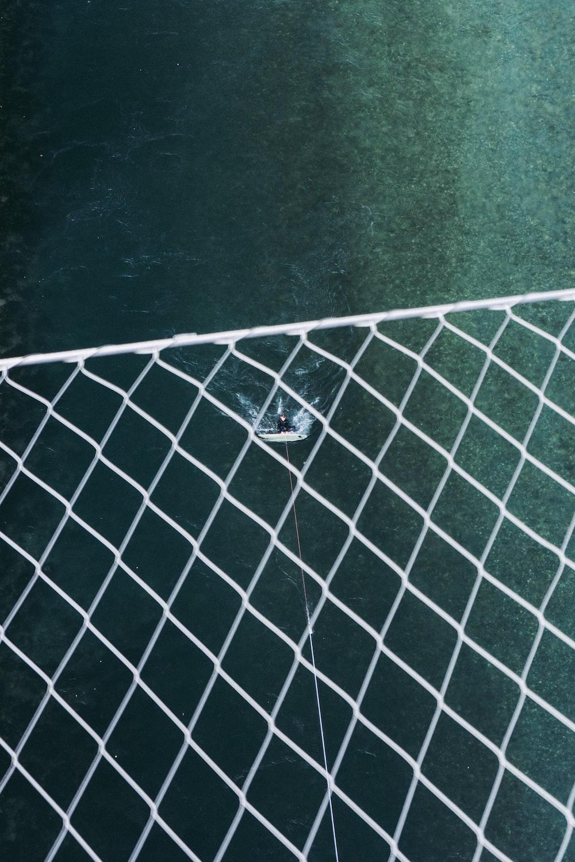 white net on black concrete floor