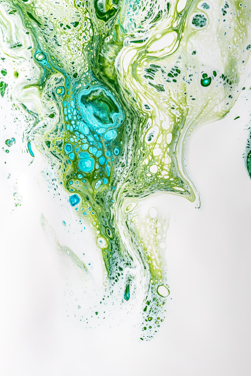 green white and blue abstract painting