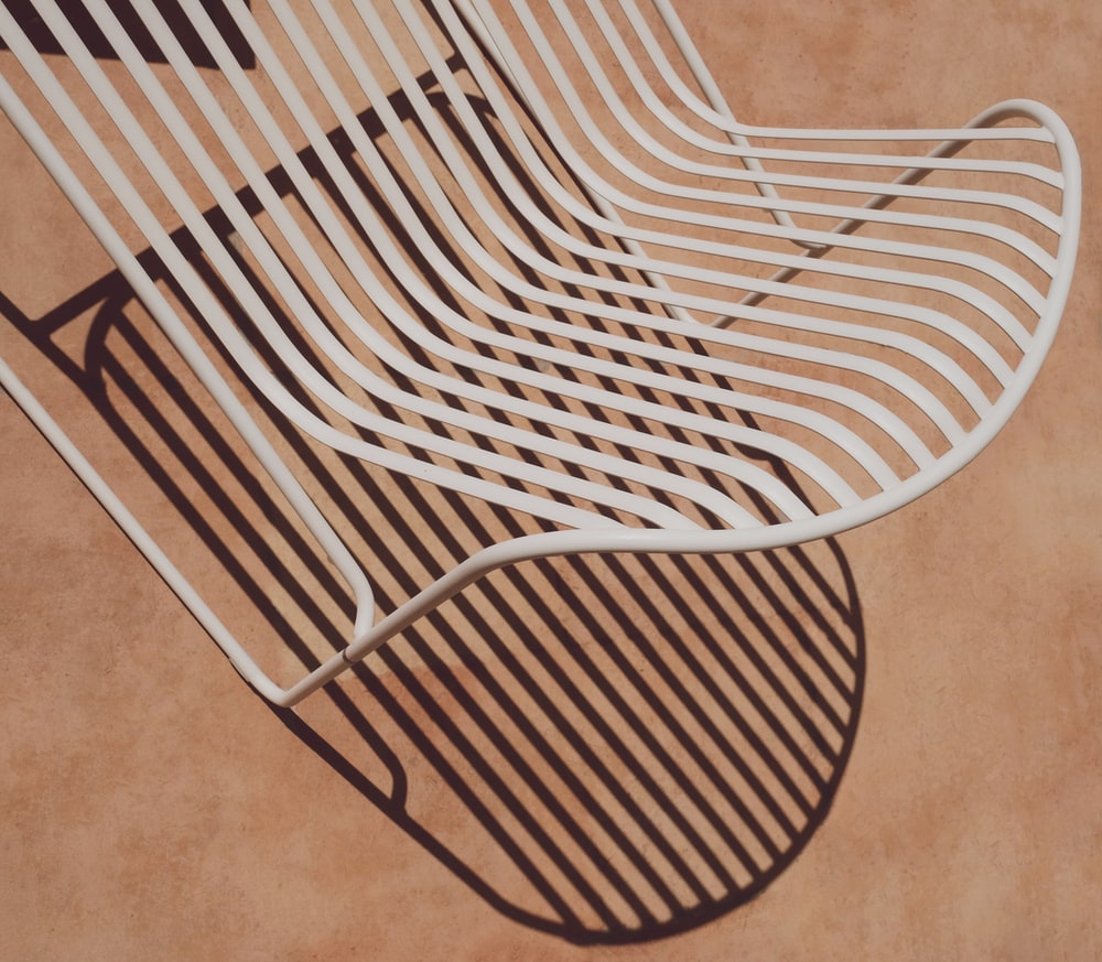 white and black striped chair