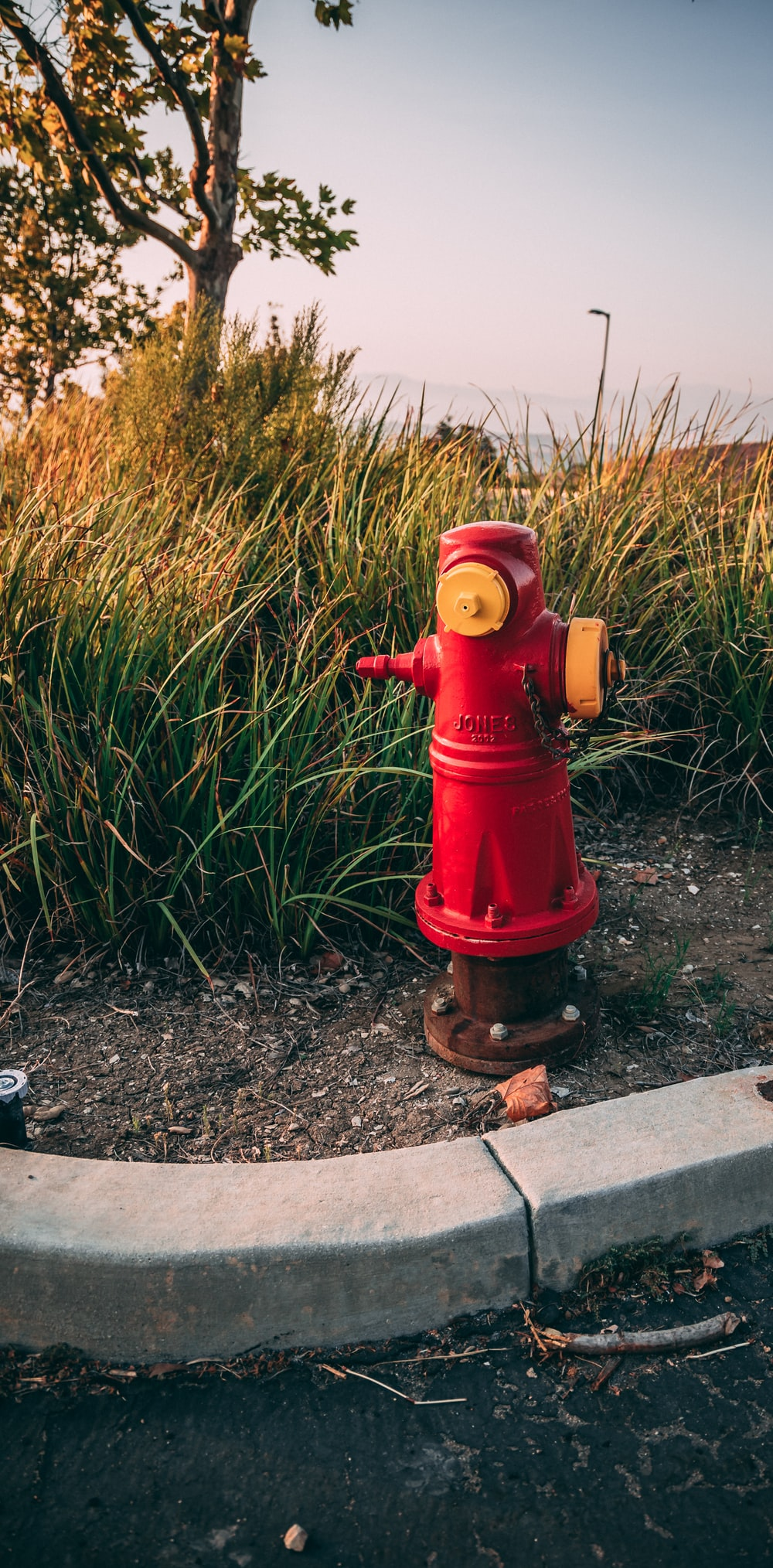 red fire hydrant on gray soil