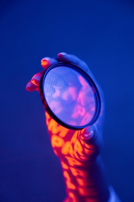 orange and blue round light